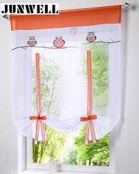 rideaux de cuisine store européenne hibou broderie style cravate up fenêtre