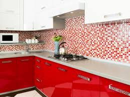 high kitchen red kitchen plus brick backsplash wall as wells as