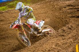 pro motocross racer martin hampshire in podium battle at budds creek motocross