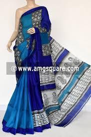 Buy Royal Blue Pure Silk Royal Blue Pherozi Murshidabadi Pure Silk Saree With Blouse 17272