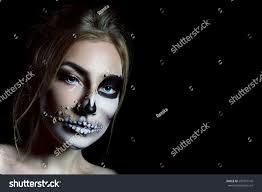 closeup terrible terrible makeup halloween stock photo