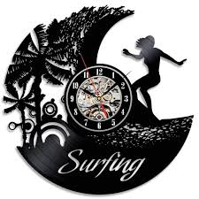 Vintage Home Interior Products Surfing Wall Clock Design Art Vinyl Record Wall Clock Modern