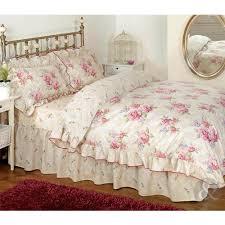 Shabby Chic Floral Bedding by Vintage Floral Frilled Duvet Cover Cream Beige Pink Bedding Set