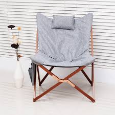 homcom 37 u201d fabric folding butterfly chair light gray aosom ca