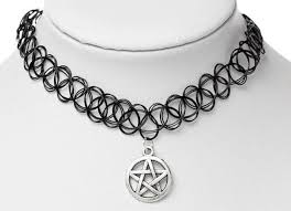 black tattoo necklace images Pentagram tattoo choker darkstorm store jpg