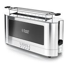 2 Slice White Toaster 2 Slice Stainless Steel Long Toaster Black Glass Russell Hobbs