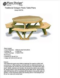 Free Hexagon Picnic Table Designs by Traditional Octagon Picnic Table Plans Pattern How To Build A