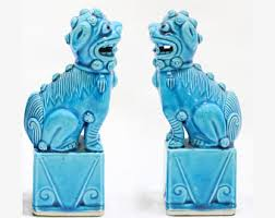 turquoise foo dogs for sale blue foo dog etsy