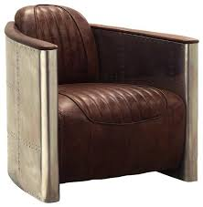 Brown Leather Accent Chair Brancaster Aluminum And Top Grain Leather Accent Chair Retro