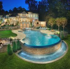 above ground pool landscaping ideas with tripel small waterfall