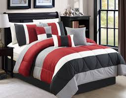 White Black Comforter Sets Modern Rectangle Red White Black And Grey Polyester Multi Color