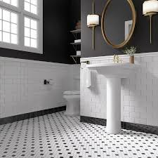 create a dramatic look in your bath with penny tile and brass