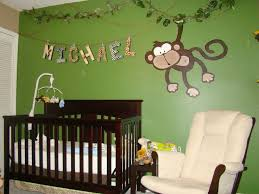 Monkey Decorations For Nursery Baby Nursery Decor Green Wall Name Sign Jungle Theme Baby Nursery