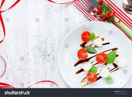 christmas tree caprese salad festive appetizer stock photo
