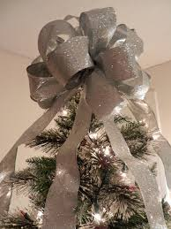 christmas tree bow topper large silver glitter christmas tree topper bow tree toppers