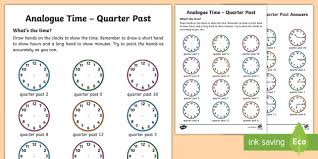analogue time quarter past activity sheet ni ks1 numeracy