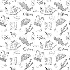 Map Pattern Mexico Seamless Pattern Doodle Elements Hand Drawn Sketch Mexican