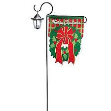 merry solar wreath flag garden stake outdoor flag new