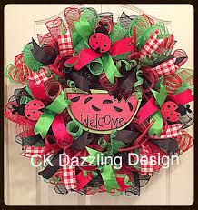 Halloween Deco Mesh Wreath Watermelon Welcome Deco Mesh Wreath Summer Wreath Lady Bug
