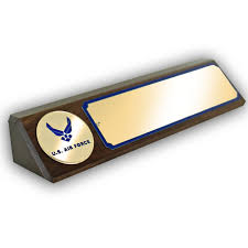 u s air force medallion genuine walnut desk block with matte gold name plate