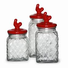 circle glass pullet embossed 3 piece kitchen canister set