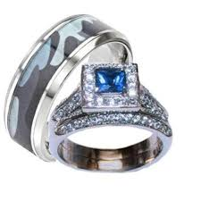 wedding ring sets his and hers his hers blue and clear wedding ring set men s blue