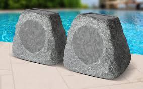Wireless Outdoor Patio Speakers Solar Stone Pair Wireless Solar Rechargeable Garden Speakers