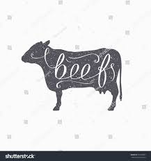 hand drawn hipster cow silhouette beef stock vector 322390997