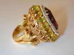 14k gold large diamond amethyst large amethyst peridot diamond cocktail ring for sale at 1stdibs
