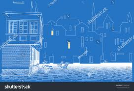 blueprint of houses street view old city old houses stock vector 713995789 shutterstock