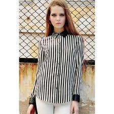 black and white striped blouse splicing black white stripe blouse polyvore