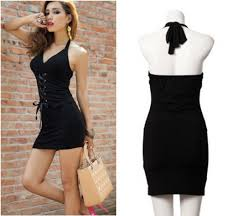 womens dresses sleeveless backless chest pad low cut cocktail