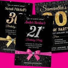 luxurious black birthday invitation with pink and gold ribbon for