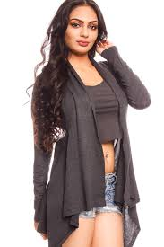 Draped Cardigan Sweater Charcoal Open Front Draped Neck Knit Crochet Detail Long Sleeve