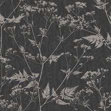 graham u0026 brown gilded fern black u0026 grey leaf metallic wallpaper