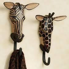 exotic tribe zebra and giraffe wall hook set