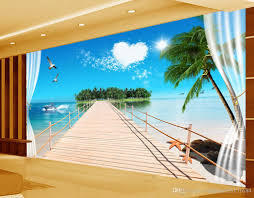 stereo window outside the sea view tv wall 3d murals wallpaper for