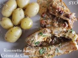 cuisiner roussette roussette à la crème de chorizo de mamigoz recette ptitchef