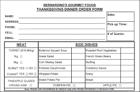 thanksgiving food order form template besttemplates123 sle
