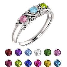 mothers ring 6 stones 71708 sterling silver s ring 1 6 stones 3 00mm shape
