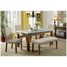 Modern Bench Dining Table Furniture Of America Walsh Natural And Ivory Dining Table