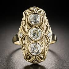 gold art rings images Yellow gold art deco three stone diamond dinner ring jpg