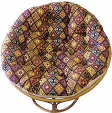 Papasan Patio Chair Furniture Single Rattan Papasan Chair With White Solid Fabric Cushion