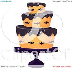 clipart three tiered halloween cake with bats and black frosting