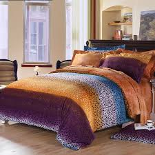 Leopard Bed Set Purple Orange And Teal Blue Cheetah Leopard Print