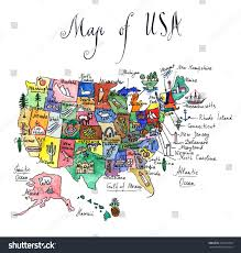 States Of Mexico Map by Map Attractions United States America Watercolor Stock