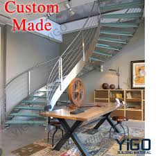 curved stainless steel stairs glass steps yigo building material