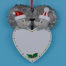 Personalized Wedding Christmas Ornaments Hedgehog Polear Bear Couple Resin Craft Wedding Souvenirs Gifts