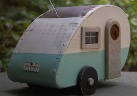 Teardrop Camper With Bathroom Bird House Trailer Tear Drop Birdhouse Blue White Teardrop