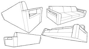one point perspective sofa furniture perspective drawing drawing